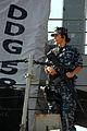 US Navy 100817-N-5292M-991 A Sailor stands watch aboard USS Laboon (DDG 58) at Naval Station Norfolk.jpg