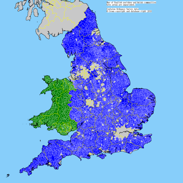 Map of English parishes and Welsh communities Uk parishes.png