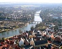 Danube in Ulm, where it separates Ulm in Baden...