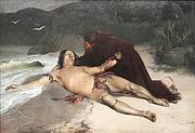 Rodolfo Amoedo: O último Tamoio, 1883, MNBA, célebre exemplo do Romantismo nacional indigenista em pintura