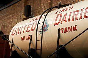 British Railway Milk Tank Wagon - Preserved detail on a typical pre-World War II United Dairies three-axle Milk Tank Wagon at the National Railway Museum, based on an SR chassis
