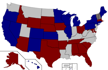 Color coded map of 2022 Senate races