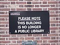 University of Birmingham - Bristol Road, Selly Oak - Selly Oak Colleges Library - Department of Drama and Theatre Arts - sign - Please not this building is no longer a public library (6094045226).jpg