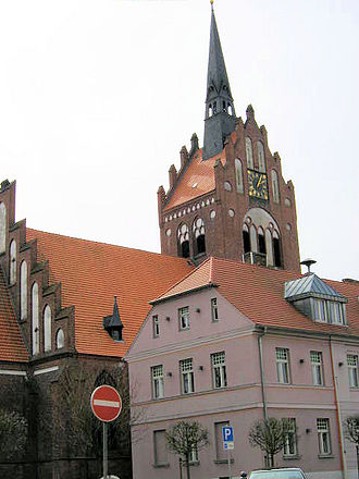 Usedom (town) - Church and town hall of Usedom