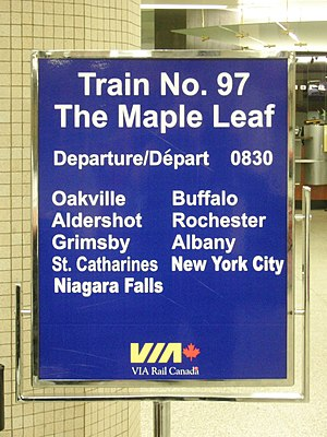 Maple Leaf (train) - VIA Maple Leaf sign at Toronto Union Station