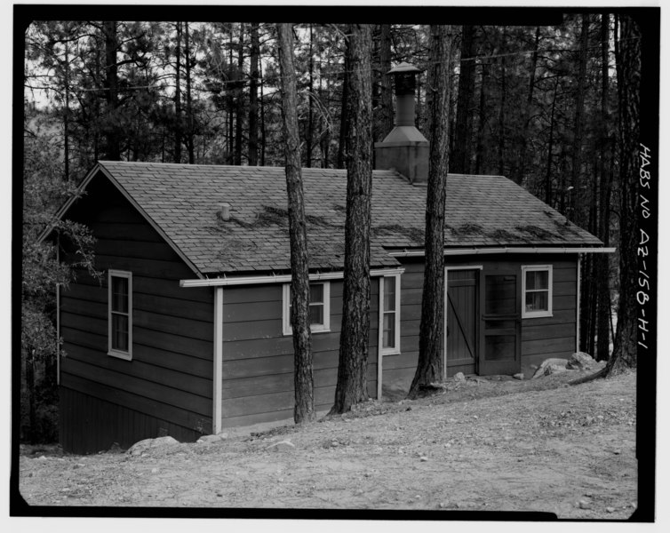 File:VIEW OF NORTHEAST FRONT AND SOUTHEAST SIDE, LOOKING WEST - Horsethief Basin Resort, Cabin No. 8, 7 miles Southeast of Crown King, Crown King, Yavapai County, AZ HABS ARIZ,13-CROWNK.V,1H-1.tif