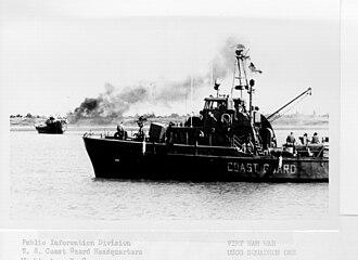 USCGC Point League (WPB-82304) - Image: VTN Burning Trawler sm