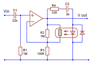Automatic gain control -  Schematic of an AGC used in the analog telephone network; the feedback from output level to gain is effected via a Vactrol resistive opto-isolator.