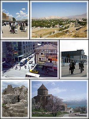 Top left:Van railroad station, Top right:View of Van from Van Castle, Middle left: downtown Van city, Middle right:Van Ferit Melen Airport, Bottom left: Van Fortress, Bottom right: Armenian Cathedral of the Holy Cross