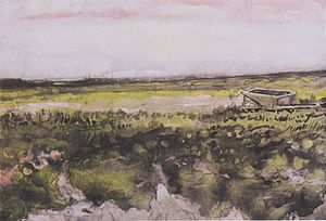 Drawings, water-colours and prints by Vincent van Gogh - Image: Van Gogh Heide mit Schubkarren