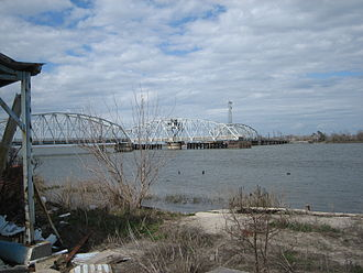 Chef Menteur Pass - View across Chef Menteur Pass with the old Highway 90 Bridge, prior to Hurricane Katrina in 2005