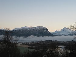 View of Vestnes with mountains in the background