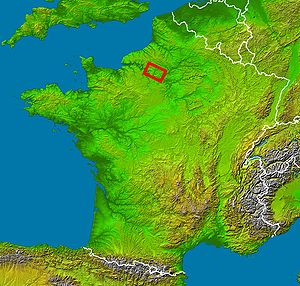 Vexin - Map of France showing the general location of the historical county of Vexin