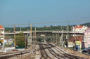 Entroncamento - The Eugénio Dias Poitout Viaduct, and complex rail lines that divide the two civil parishes