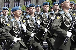Telnyashka - Russian paratroopers wearing telnyashkas on a parade.