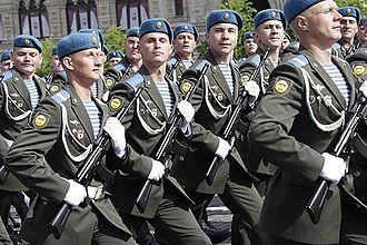 Telnyashka - Russian paratroopers wearing telnyashkas on a parade.