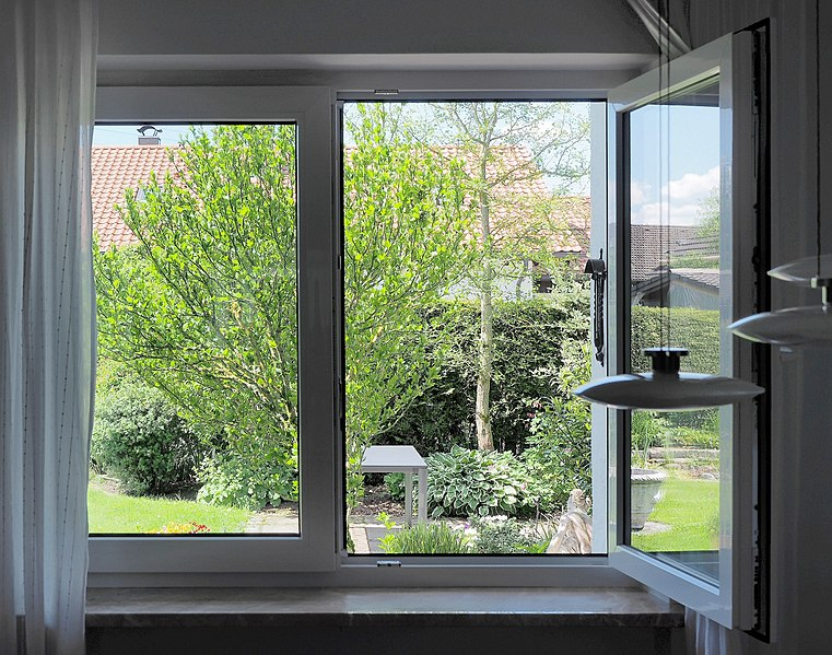 File:View into a garden through an open ground floor window in Germany.jpg