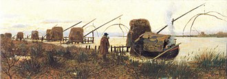 Lift net - Traditional shore-operated lift nets in Bocca d'Arno, Italy in a painting by Francesco Gioli