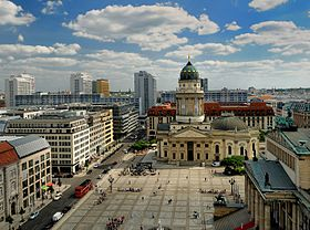 View of the Gendarmenmarkt and Deutscher Dom (German Cathedral) from the Top of Französischer Dom (French Cathedral).JPG
