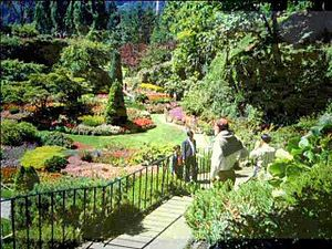 Landscape design - View of the sunken gardens at Butchart Gardens