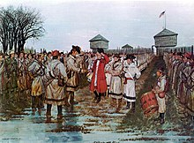At left center, Virginia militia Colonel George Rogers Clark with buckskinned uniformed militia lined up behind him; at right center, red-coated British Quebec Governor Hamilton surrendering with ranks of white-uniformed Tory militia behind receding into the background; a drummer boy in the foreground; a line of British Indian allies lined up on the right receding into the background.