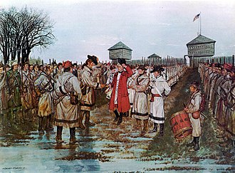 Siege of Fort Vincennes - Lieutenant Governor Henry Hamilton surrenders to Colonel George Rogers Clark, February 29, 1779, U.S. Army painting by Don Troiani