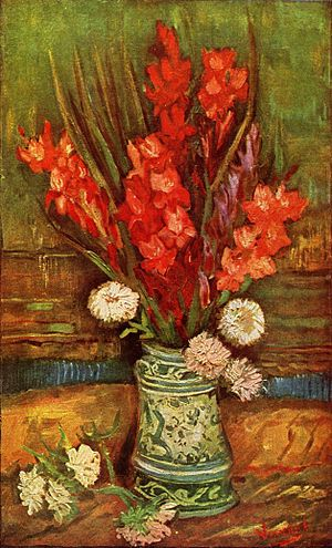 Still life paintings by Vincent van Gogh (Paris) - Vase with Red Gladioli, 1886, Private collection (F247)  This painting represents some of Van Gogh's early Paris still life, where he introduced brighter, contrasting color.
