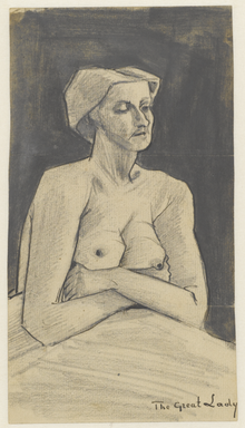 "A half length portrait of a naked woman with folded arms and drooping breasts in milk. It is annotated ""The Great Lady"" in the lower right."