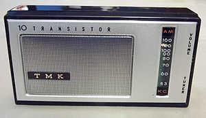 Koyo Electronics Corporation Limited - Image: Vintage TMK 10 Transistor AM Radio (No Model Number), Reverse Paint Sliderule Dial, Made in Japan (8507489229)