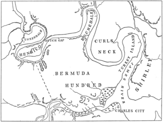 Bermuda Hundred, Virginia - Map showing Bermuda Hundred and other early settlements along the James River
