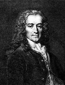 Voltaire, Stahlstich aus der Werkausgabe 1846 nach Moreau (Quelle: Wikimedia)