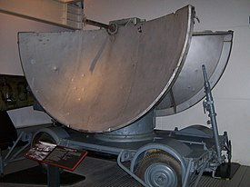 Wheeled radar looks like a circle cut down the middle forming two semi circles