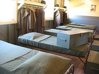 Footlocker (luggage) - A WWII footlocker on a bed at the National Infantry Museum, South Columbus, Georgia.