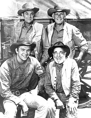 John McIntire - 1962 cast with (clockwise) Scott Miller, McIntire, Terry Wilson and Frank McGrath.