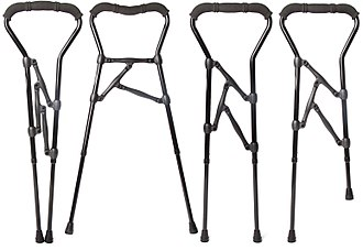 Mobility aid - A Walker Cane Hybrid adjusted to four configurations.
