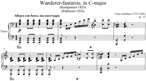 Opening of the Wanderer Fantasy, Op. 15 (D 760), one of Schubert's miscellaneous works for solo piano Wanderer.PNG