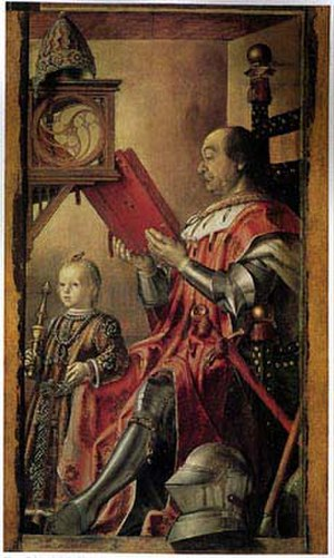 Justus van Gent - Portrait of Federico da Montefeltro with His Son Guidobaldo, from the Famous men series