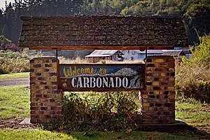 Carbonado, Washington - Welcome sign in Carbonado