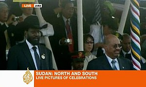 Salva Kiir Mayardit - Omar al-Bashir (R), the president of Sudan, watches a ceremony celebrating the birth of South Sudan with Salva Kiir Mayardit, the former commander of the rebels who fought Bashir and now the president of the world's newest nation.