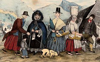 Traditional Welsh costume - Welsh Fashions Taken on a Market Day in Wales (R. Griffiths, 1851)