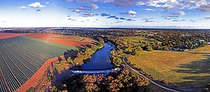 Werribee, Victoria - Aerial panorama of Werribee River Spring 2017 near the Riverbend Historic Park - where pasture meets suburban sprawl
