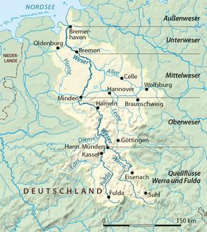 Verlauf der Weser (mit Quellflüssen)
