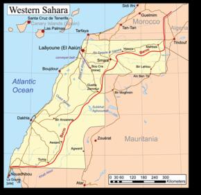 A map of Western Sahara