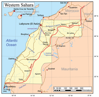 Outline of the Sahrawi Arab Democratic Republic - The red line indicates the Moroccan Wall. The territory to the east of it is the Free Zone, controlled by the SADR.