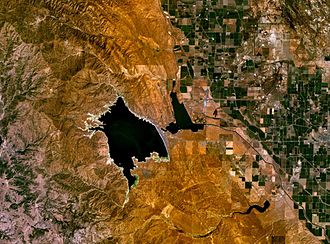 San Luis Dam - San Luis Reservoir, O'Neill Forebay and San Joaquin Valley farmlands, seen from space.