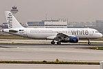 White (for Evelop Airlines) Airbus A320-214 (CS-TRO) departing on Runway18 to Valladolid (VLL - LEVD) @ Frankfurt - Rhein Main International (FRA - EDDF).jpg