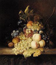 stillevens van fruit, olieverf op doek, jaren: 1840 en onbekend