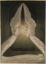 Ο Χριστός υπό την προστασία αγγέλων, έργο του William Blake