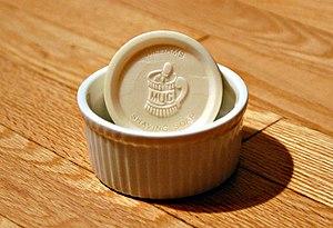 Shaving soap - A puck of shaving soap in a ceramic bowl