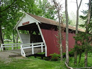 Winterset City Park - The Cutler-Donahoe Covered Bridge (1870) on display in the park.